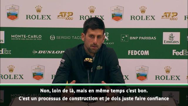 "Monte-Carlo - Djokovic :""Pas mon meilleur niveau"""