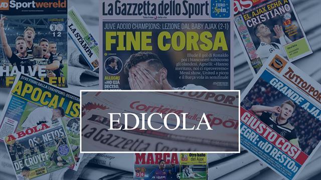 Edicola: la sconfitta della Juve e Allegri che resta, la stampa europea applaude l'Ajax