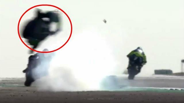 Mehrere Schutzengel im Einsatz: Motorrad fliegt mit Fahrer meterhoch durch die Luft