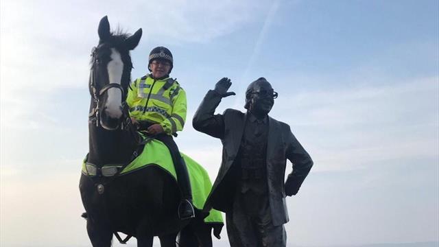 Полицейская лошадь испугалась фанатов, ударилась о столб и погибла на матче «Блэкпула»