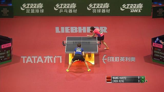 Chen Meng hammers Wang Manyu in semi-final