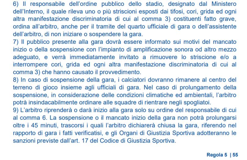 Razzismo - Regola 5 del regolamento giuoco calcio