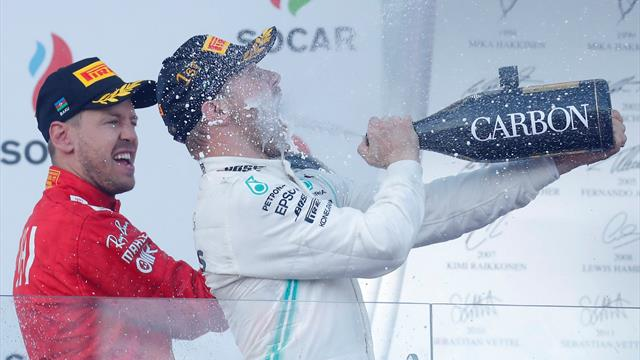 Bottas holds off Hamilton to take championship lead with victory at Baku
