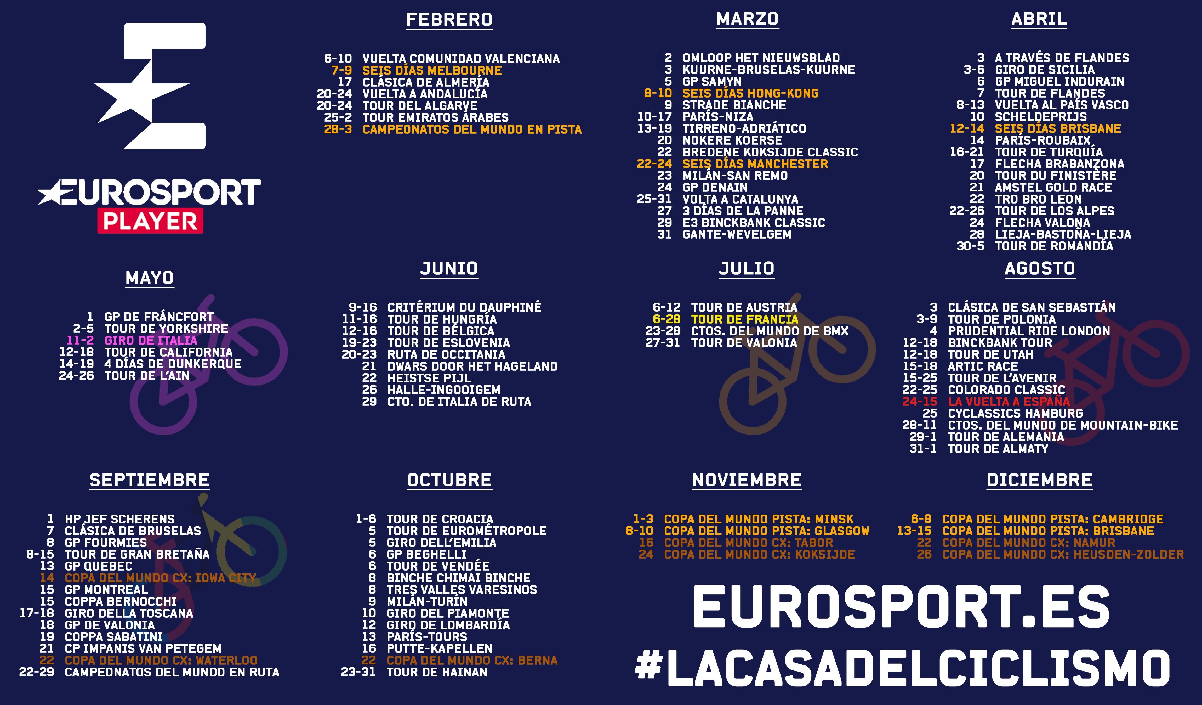 Calendario Ciclismo Eurosport 2019