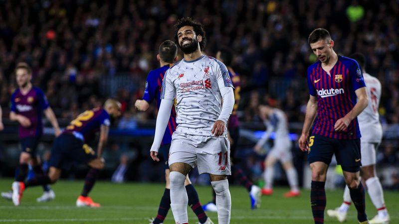 Mohamed Salah rit jaune lors de Barça - Liverpool (3-0), en demi-finale aller de la Ligue des champions.