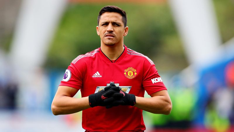 Alexis Sanchez of Manchester United looks on during the Premier League match between Huddersfield Town and Manchester United at John Smith's Stadium on May 05, 2019 in Huddersfield, United Kingdom.