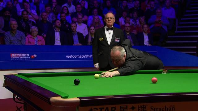 Campeonato del Mundo 2019: Higgins pudo lograr un 147 tras este bolón, pero después falló la fácil