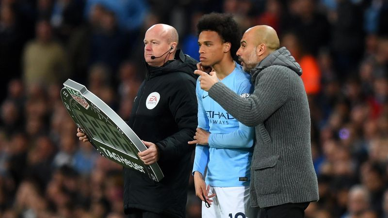 Leroy Sane prepares to come for City against Leicester