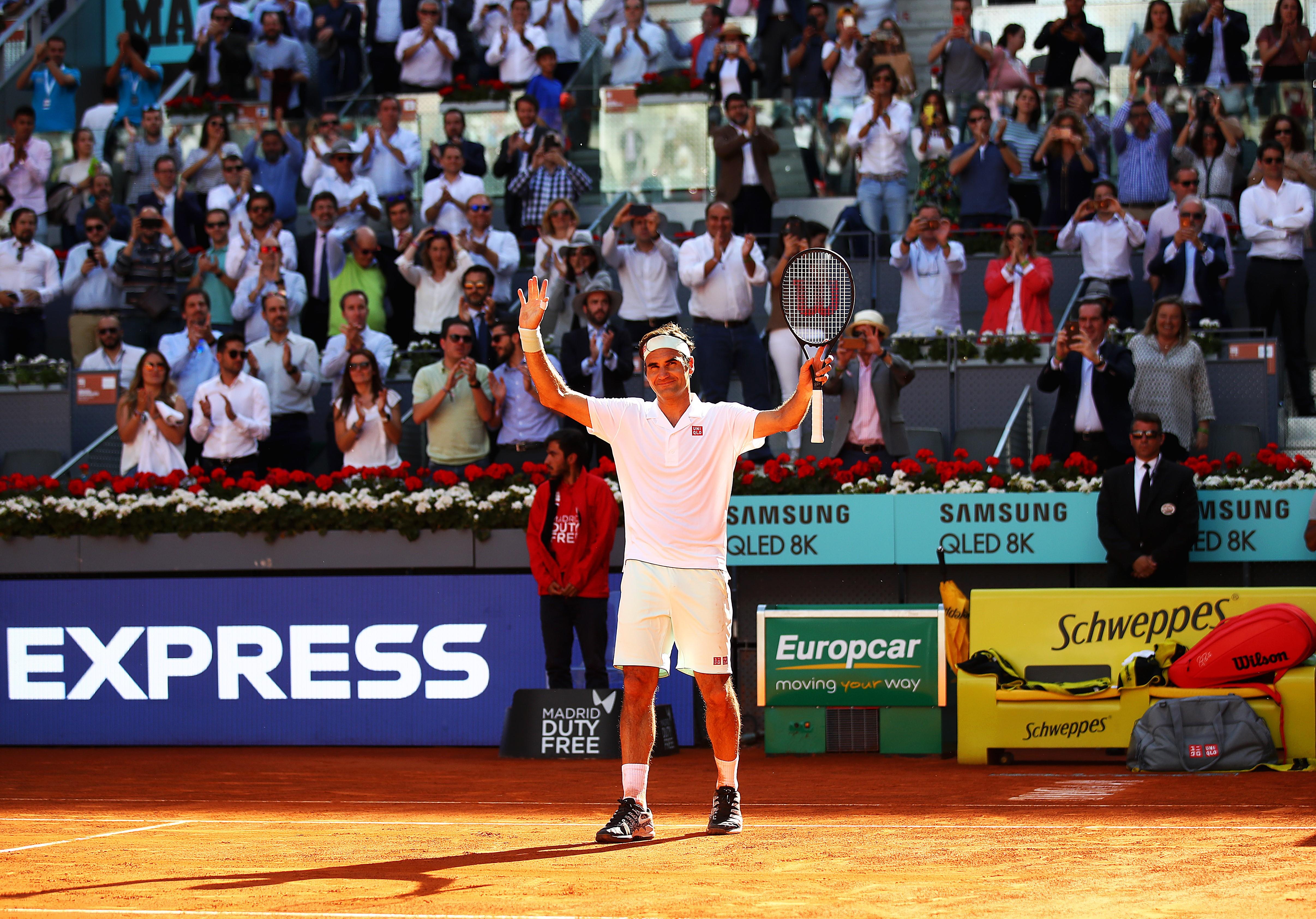 Roger Federer lors de sa victoire en 8e face à Gaël Monfils lors du Masters 1000 de Madrid