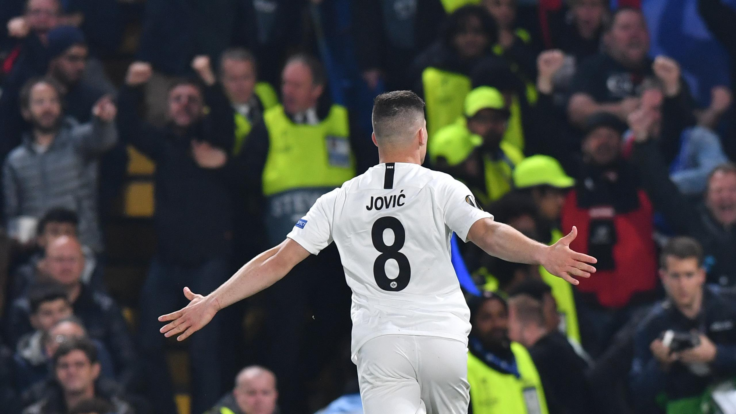 Eintr. Frankfurt's Serbian forward Luka Jovic celebrates scoring the team's first goal during the UEFA Europa League semi-final second leg football match between Chelsea and Eintracht Frankfurt at Stamford Bridge in London on May 9, 2019.