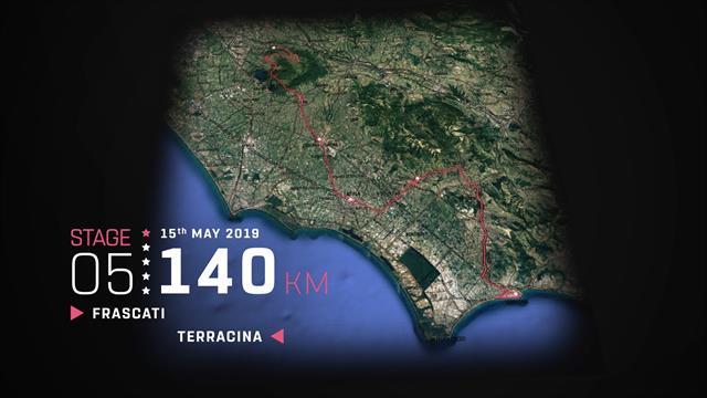 Giro de Italia 2019: Perfil en 3D de la 5ª etapa, Frascati-Terracina (140 km)