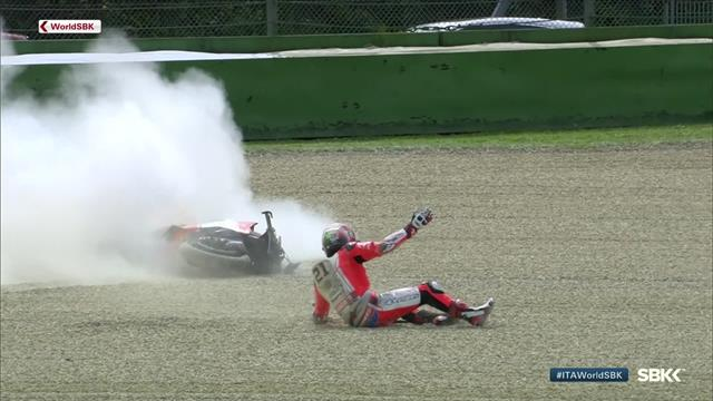 'A big one!' - Rinaldi's bike catches on fire after Imola crash