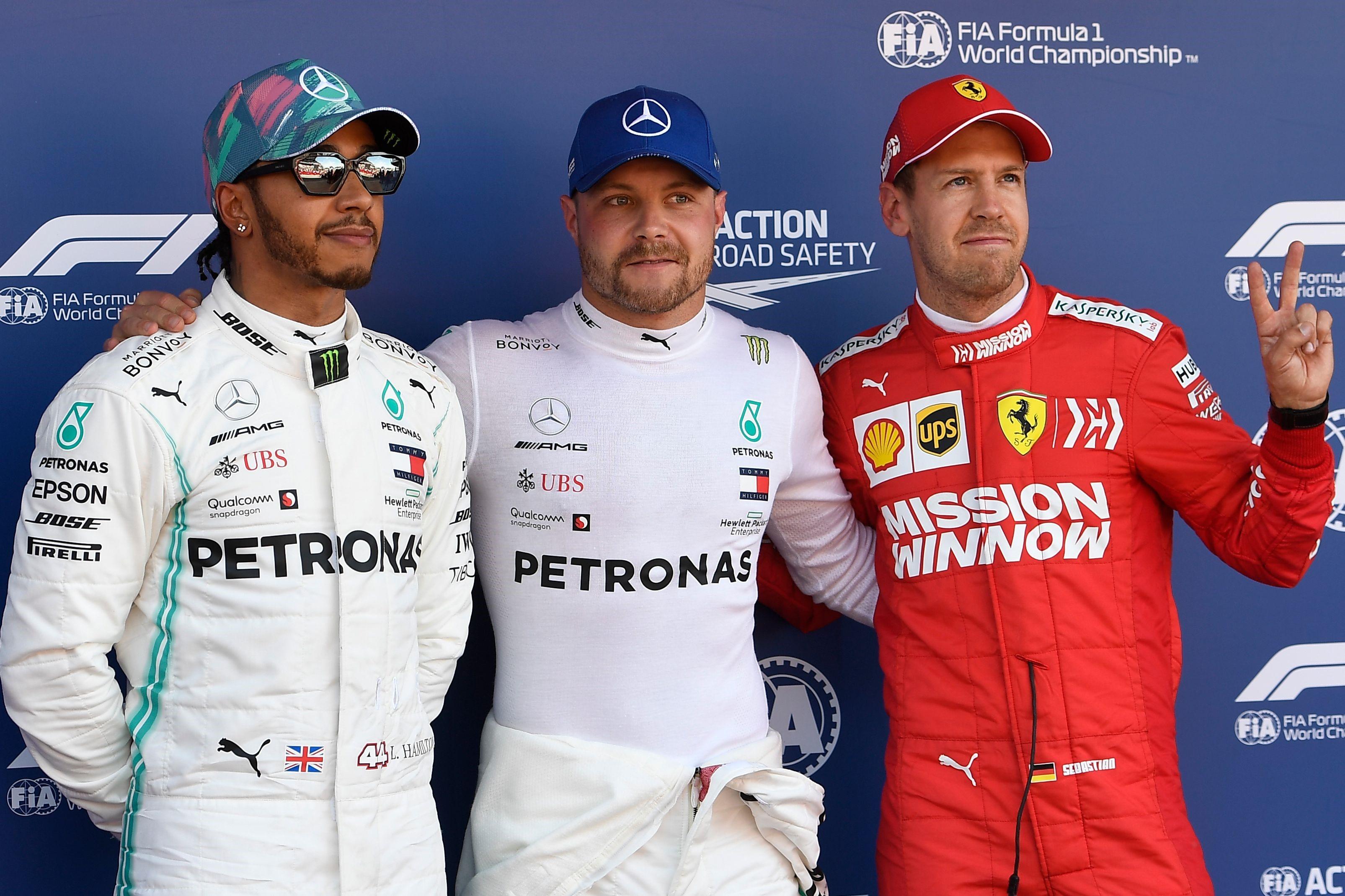 Lewis Hamilton, Valtteri Bottas (Mercedes) et Sebastian Vettel (Ferrari) au Grand Prix d'Espagne 2019