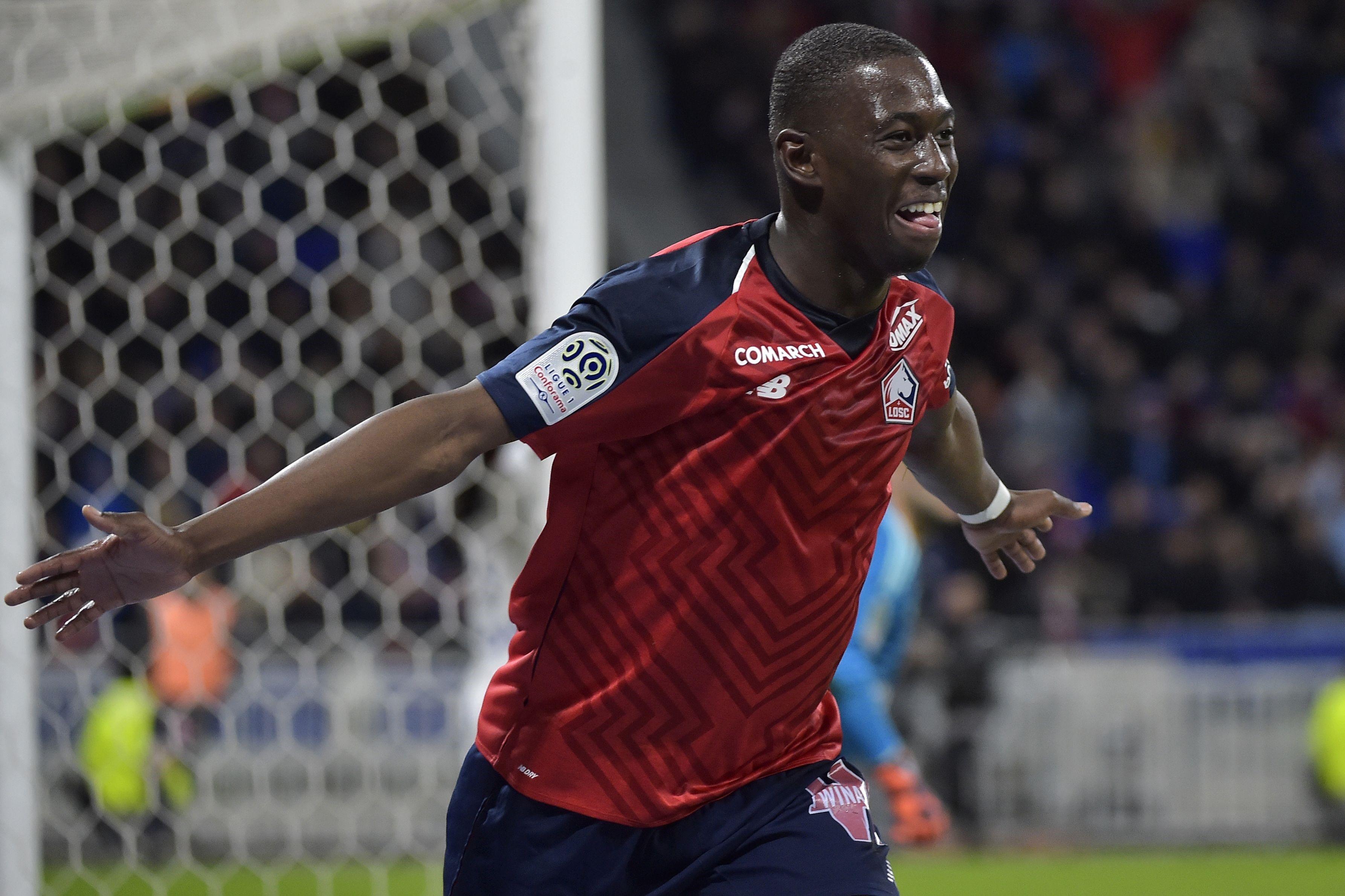 Boubakary Soumare fête son but inscrit à Lyon avec Lille, le 5 mai 2019