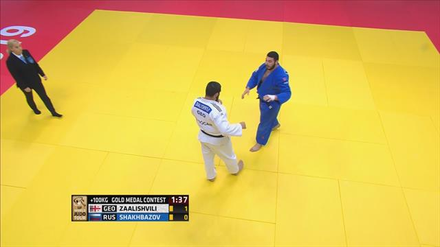 Gela Zaalishvili beats Ruslan Shakhbazov to win -100kg gold