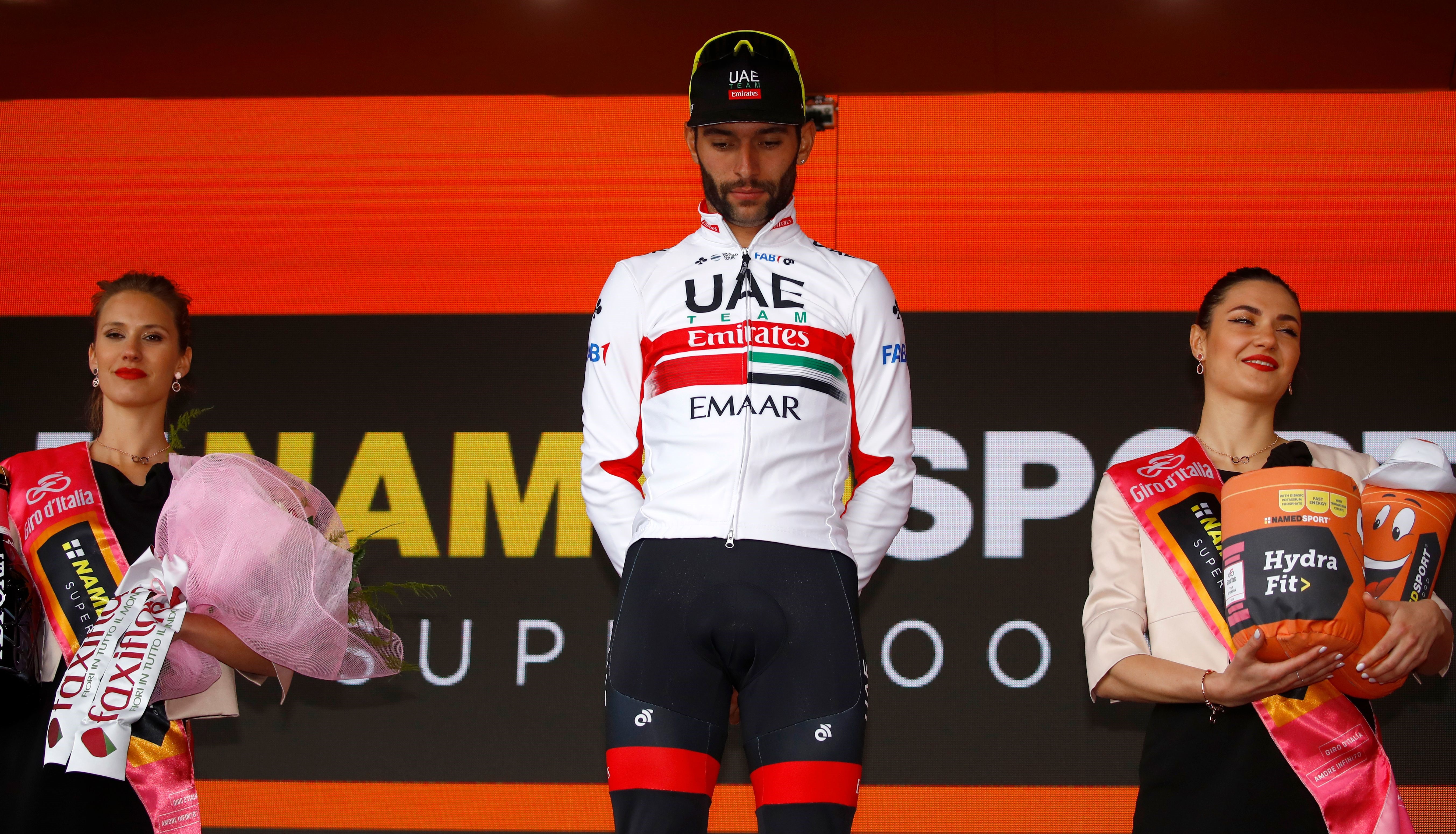 Fernando Gaviria (Team UAE Emirates) sur le podium dela 3e étape duTour d'Italie 2019