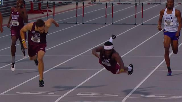 'Superman dive' for victory at college athletics meet