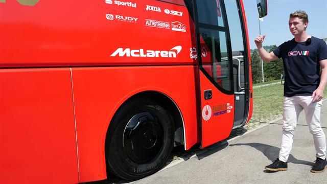 Take a tour of the Bahrain-Merida bus at the Giro d'Italia