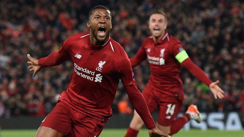 Georginio Wijnaldum fou de joie après avoir marqué lors du match Liverpool - Barcelone, le 7 mai 2019 à Anfield.