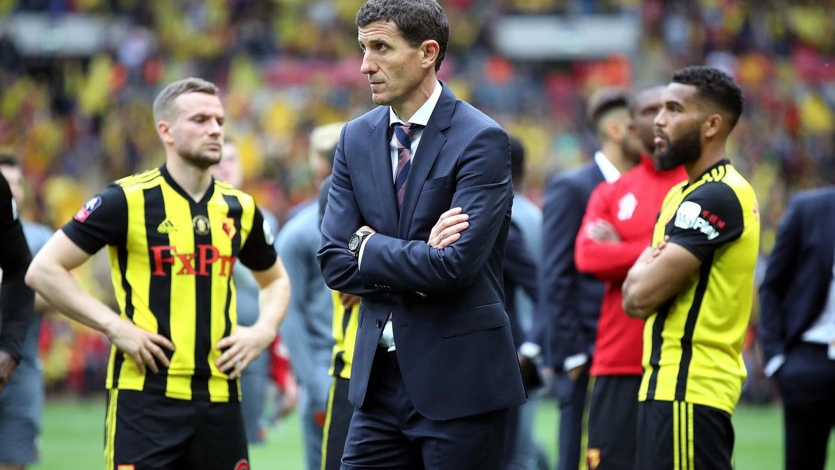 Watford manager Javi Gracia appears dejected after the final whistle in this year's FA Cup final