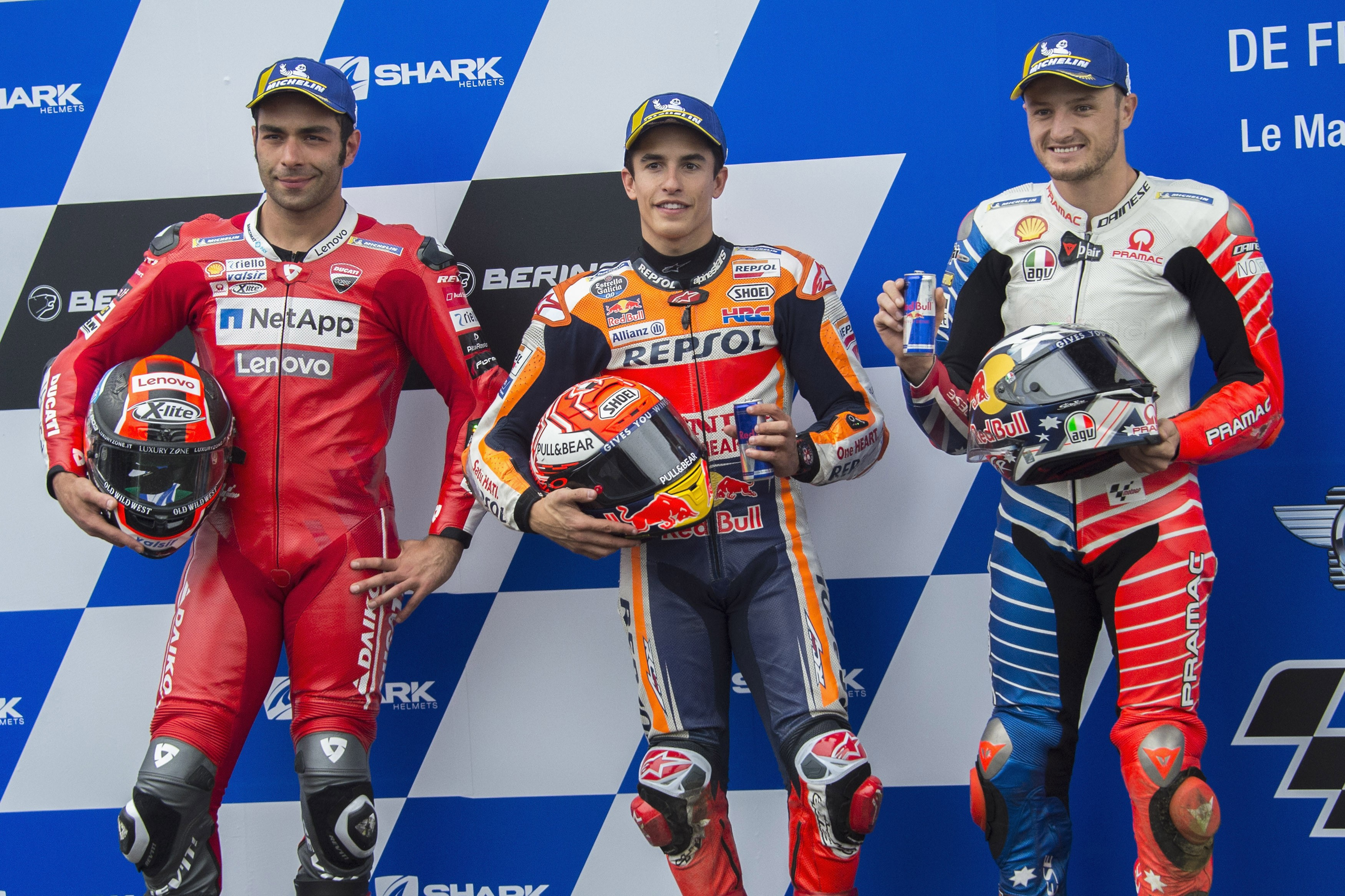 Marc Marquez (Honda HRC), Danilo Petrucci (Ducati Team) et Jack Miller (Ducati Pramac) au Grand Prix de France 2019