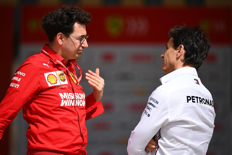 Mattia Binotto (Ferrari) et Toto Wolff (Mercedes) au Grand Prix de Monaco 2019