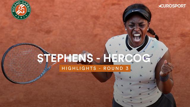 Sloane Stephens rekent in drie sets af met Hercog