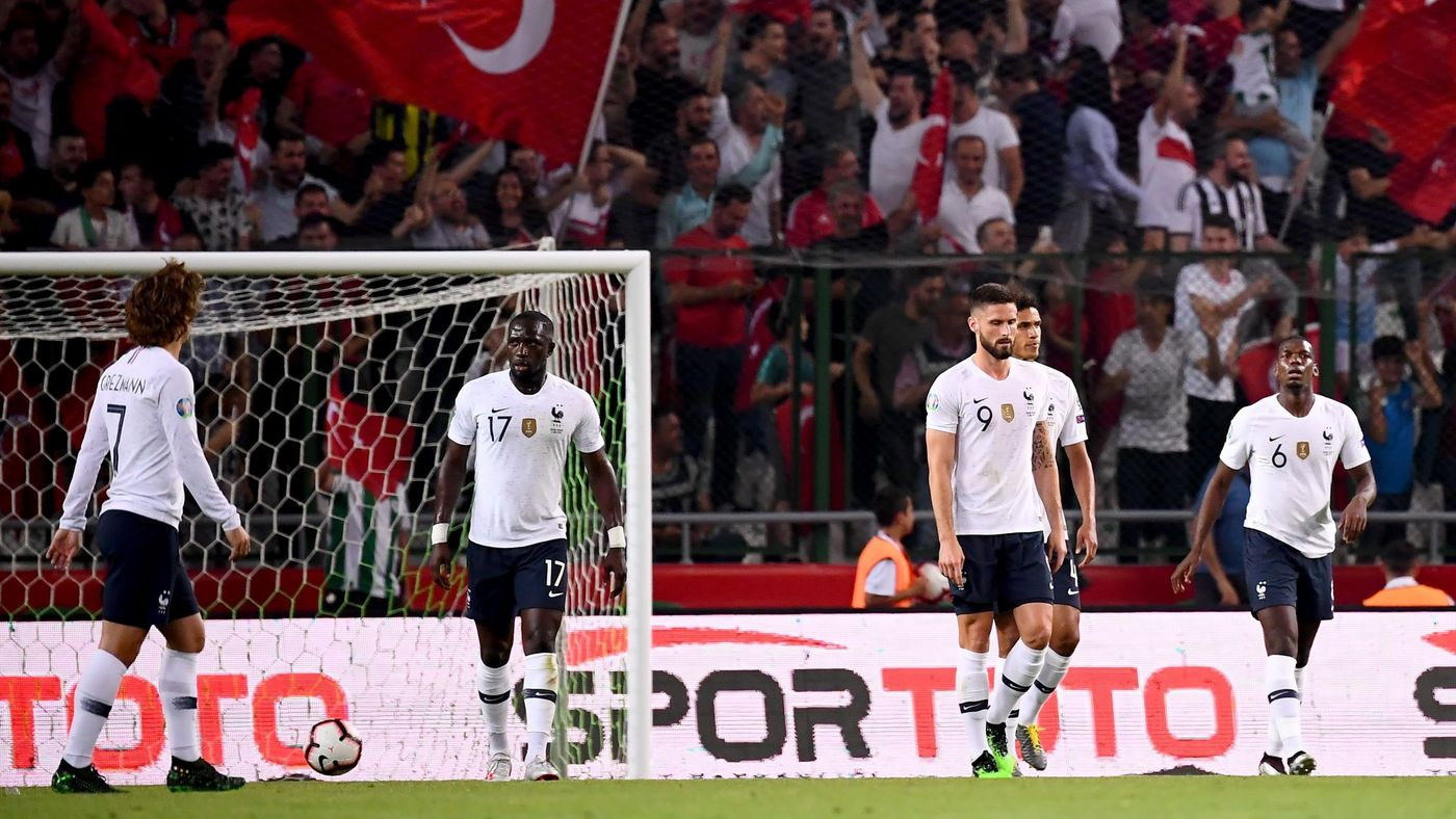 France's players react after Turkey's defender Kaan Ayhan scoring his team's first goal during the Euro 2020 football qualification match between Turkey and France at the Buyuksehir Belediyesi stadium in Konya, on June 7, 2019. (Photo by FRANCK FIFE / AFP
