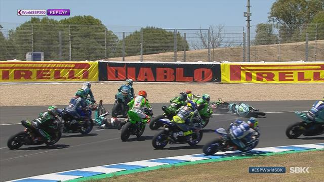 The dangers of fast bikes: Riders hit the deck in Jerez