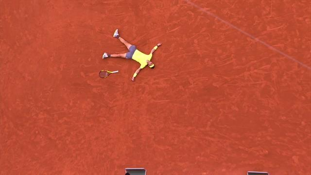 Nadal collapses to the clay after sealing 12th Roland Garros title