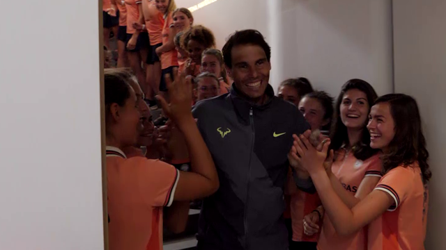 Watch the incredible locker-room scenes just moments after Nadal won the French Open