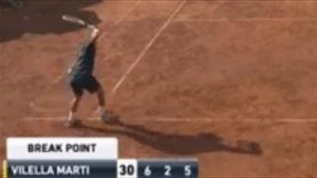 Bestial cabreo de Vilella Martínez en un Challenger, ¡reventó la raqueta por un enfado descomunal!