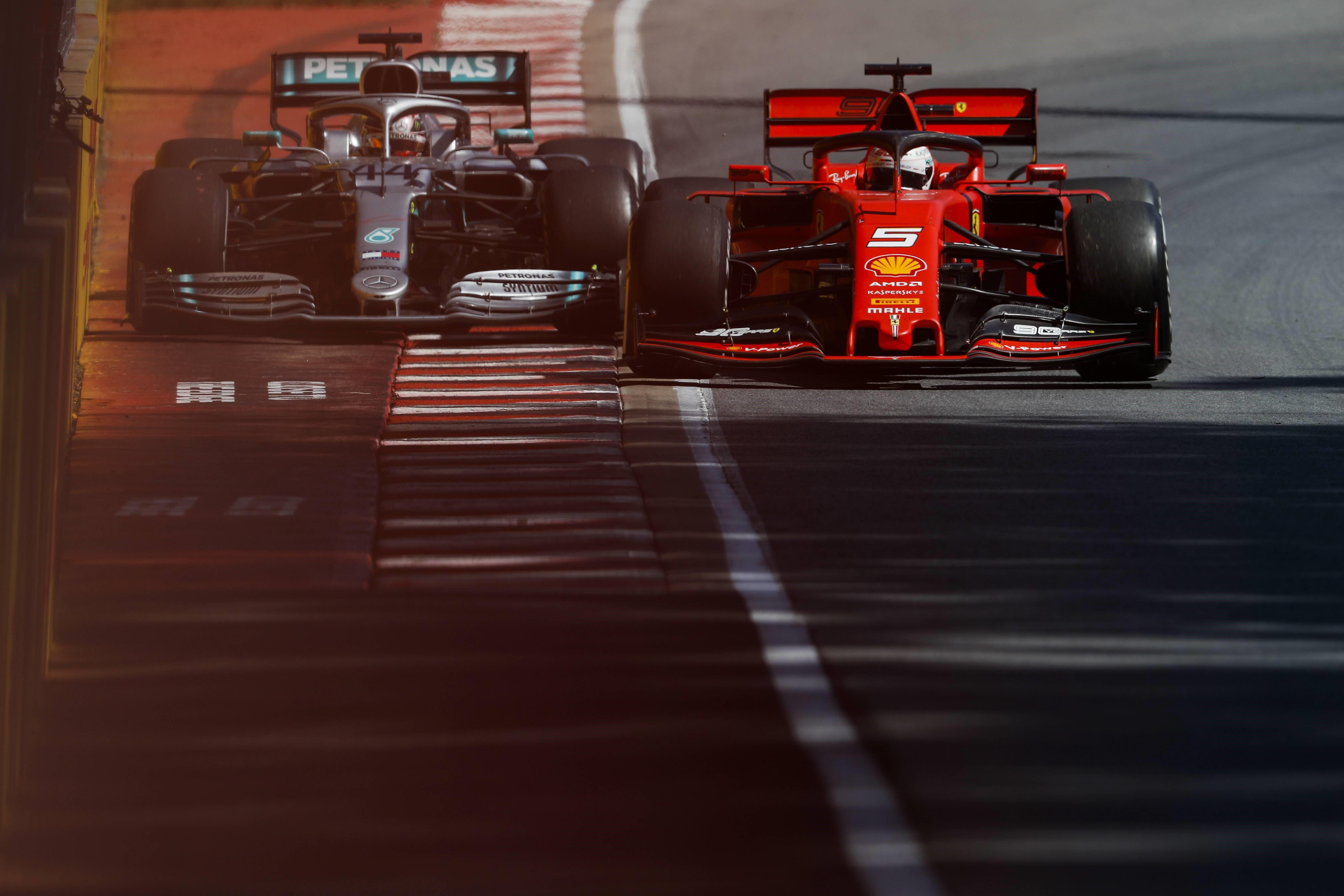 Sebastian Vettel (Ferrari) et Lewis Hamilton (Mercedes) aux 24 Heures du Mans 2019