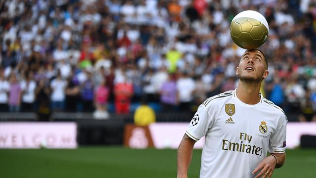 Eden Hazard is unveiled to the crowd at the Bernabeu