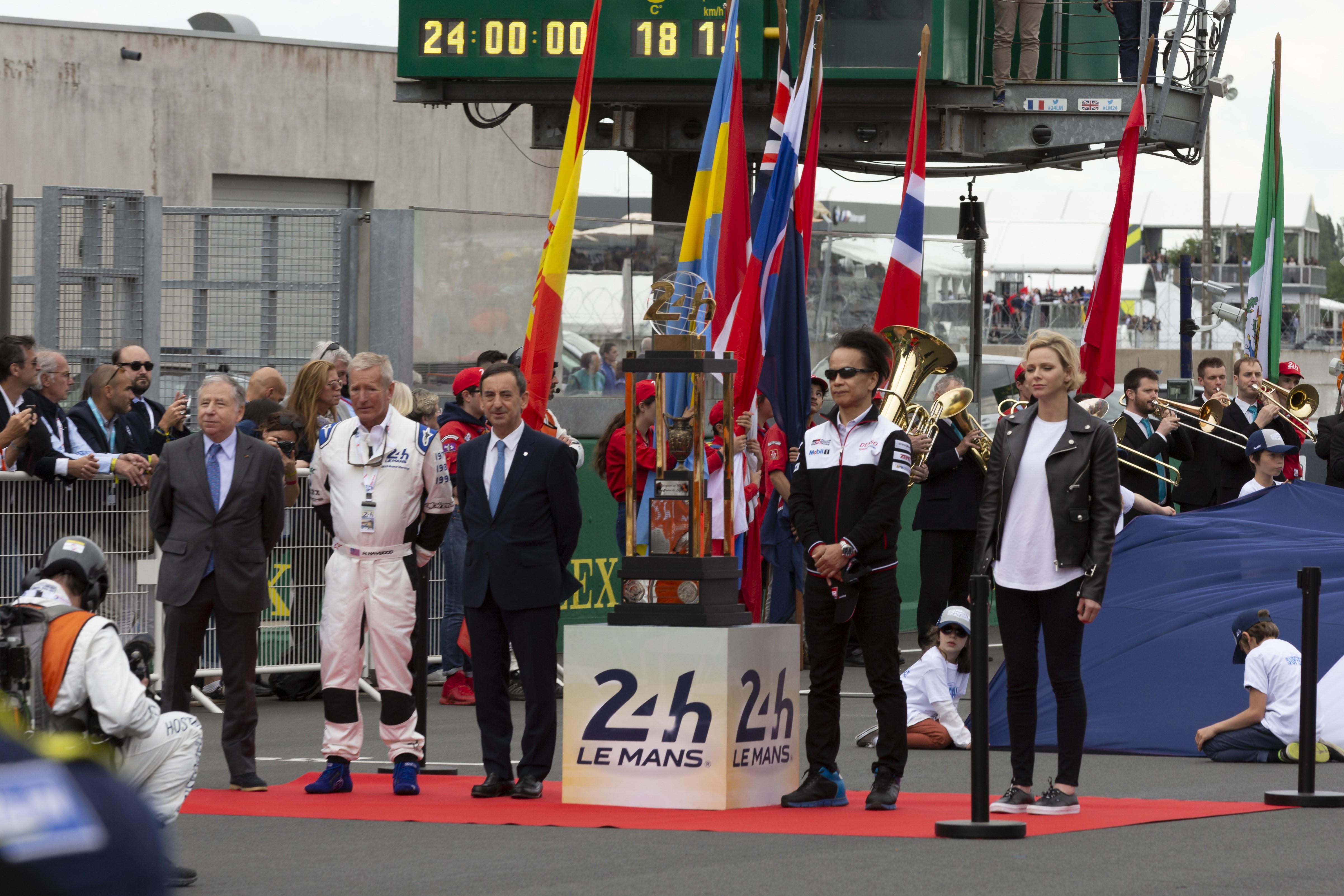 Jean Todt, Pierre Fillon, Shigeki Tomoyama, Charlène de Monaco aux 24 Heures du Mans 2019
