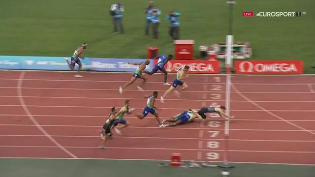 Hurdlers McLeod and Shubenkov collide, Russian falls over line to win