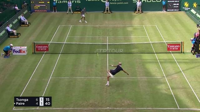 Tsonga and Paire play foot-tennis point DURING match