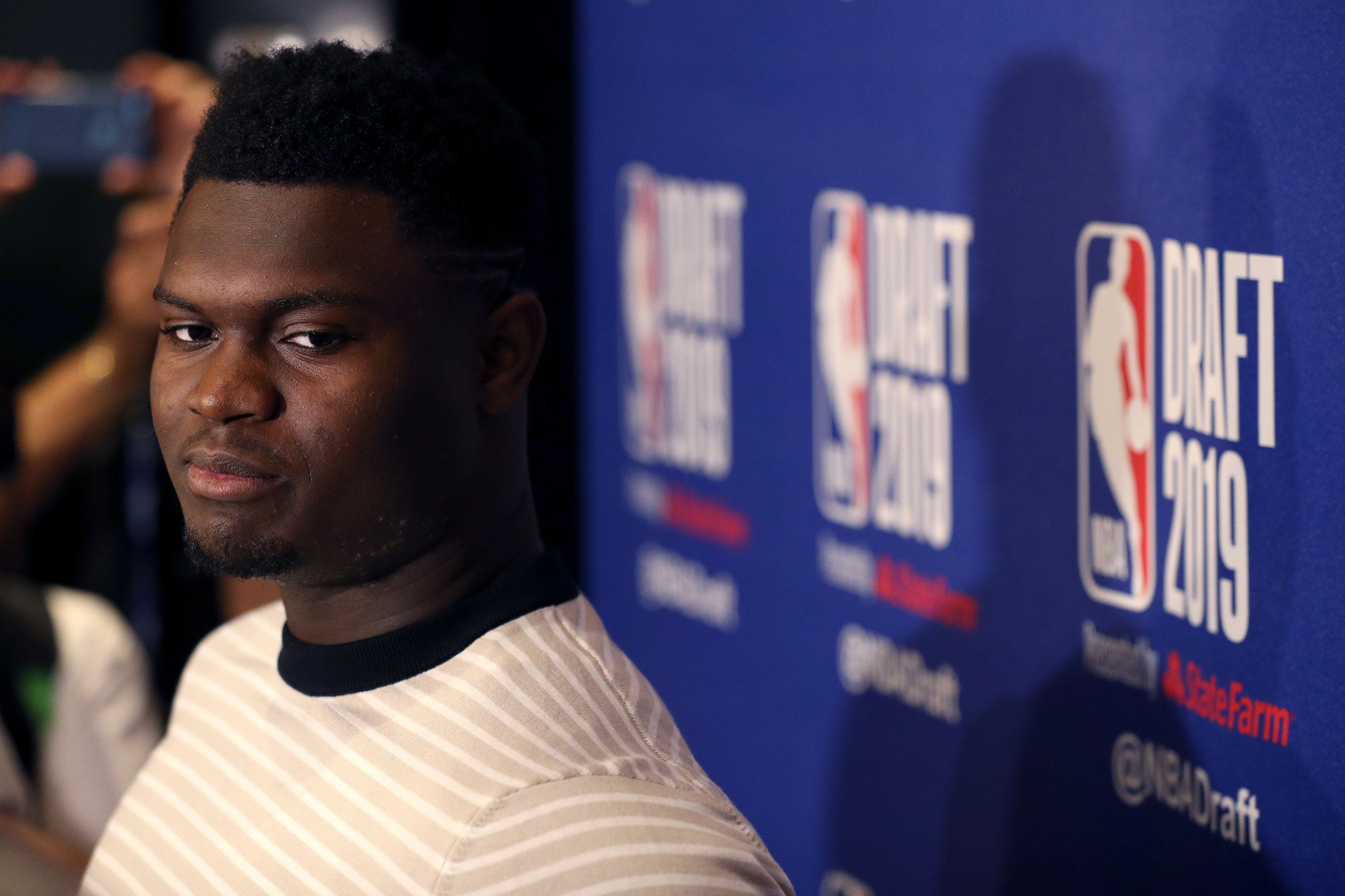 Zion Williamson speaks to the media ahead of the 2019 NBA Draft at the Grand Hyatt New York on June 19, 2019 in New York City