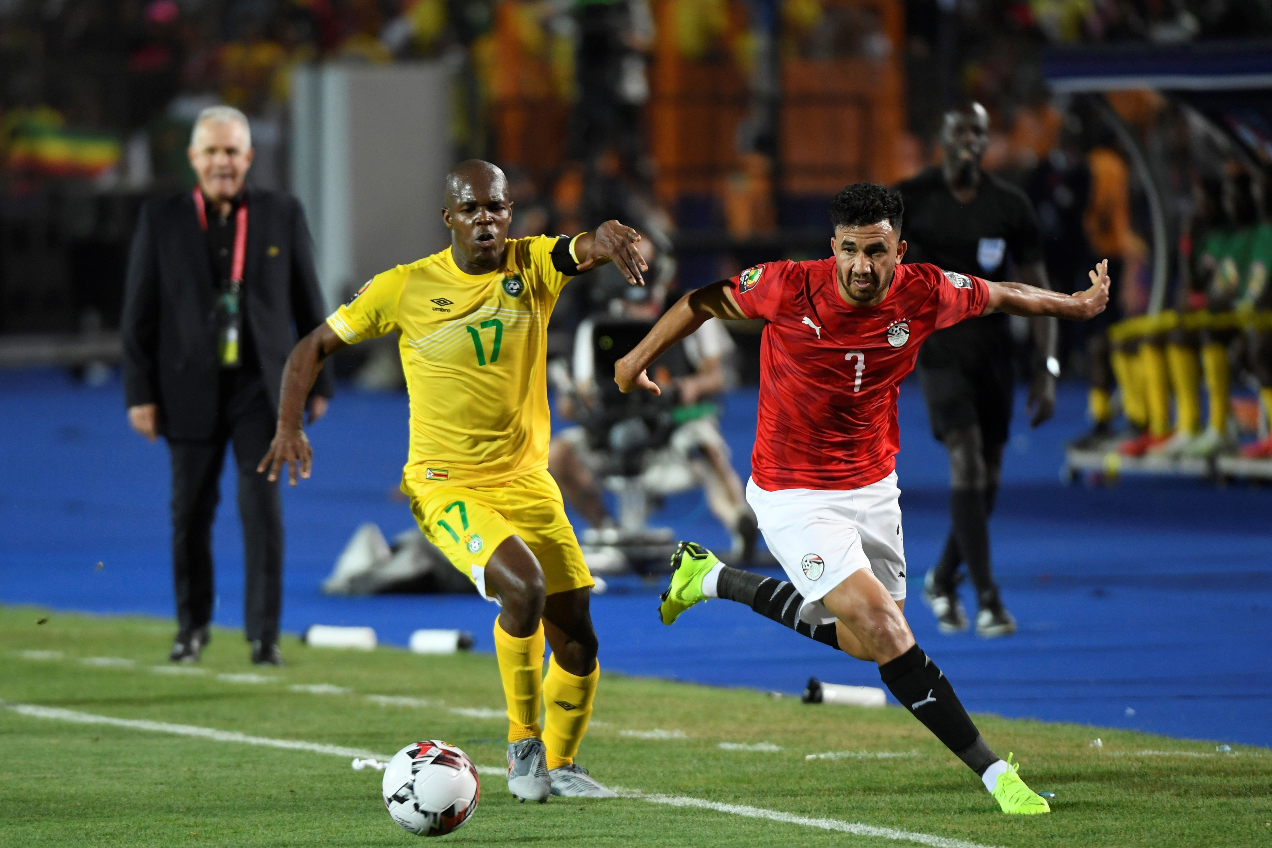 "Mahmoud ""Trezeguet"" lors de la rencontre Egypte-Zimbabwe"