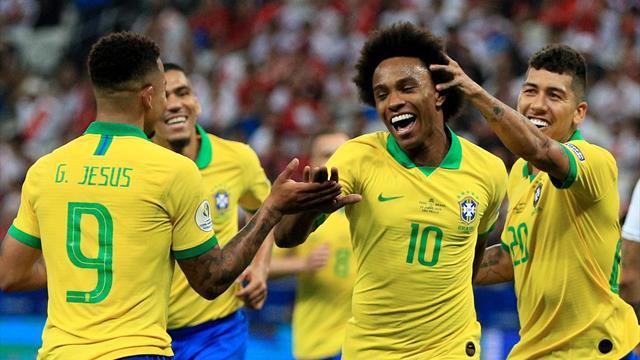 Brazil crush Peru 5-0 to reach Copa America last eight