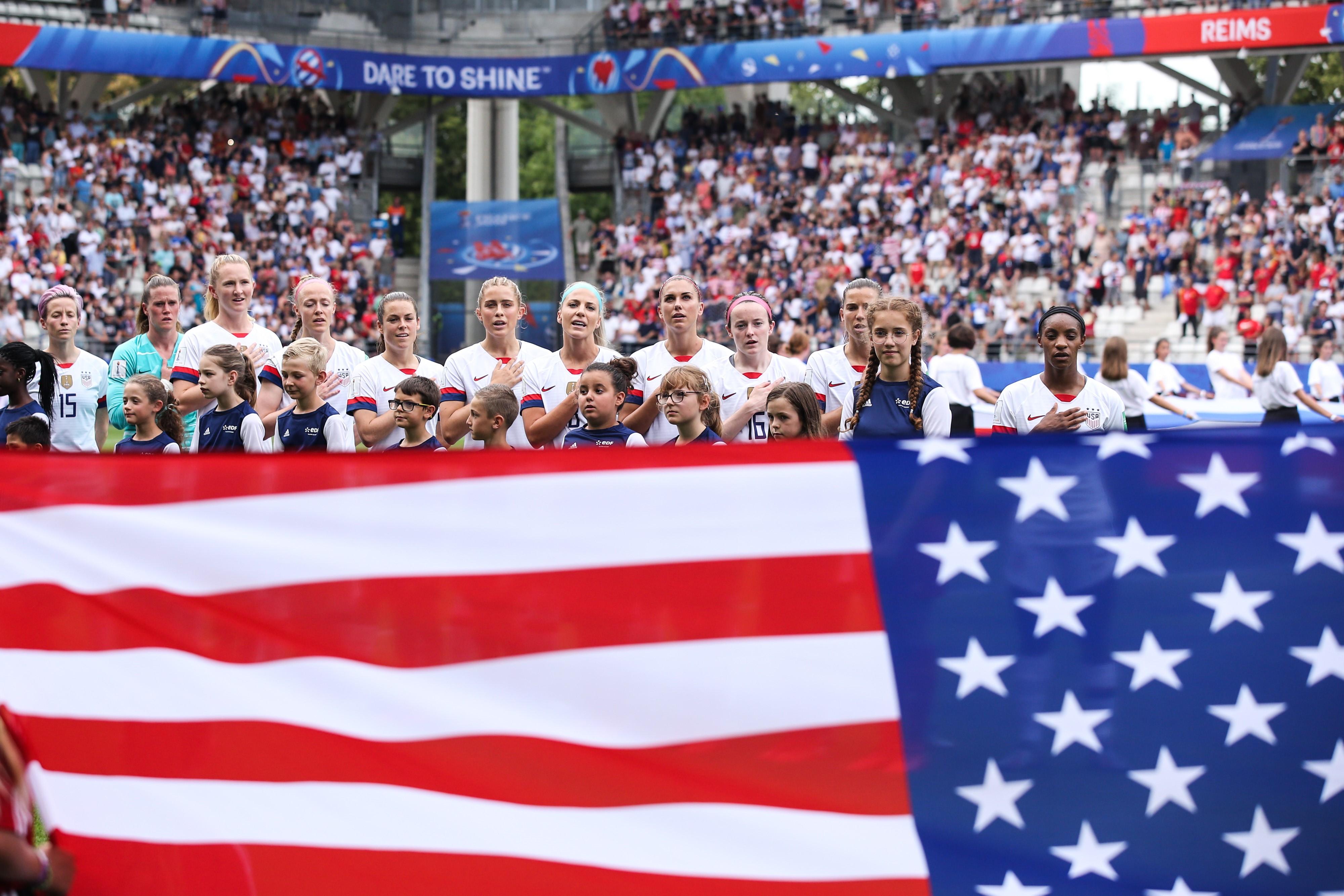 L'équipe des Etats-Unis avant leur huitième de finale contre l'Espagne lors de la Coupe du monde 2019
