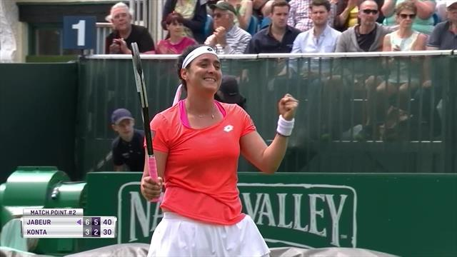 Watch Jabeur beat Konta with match-point ace