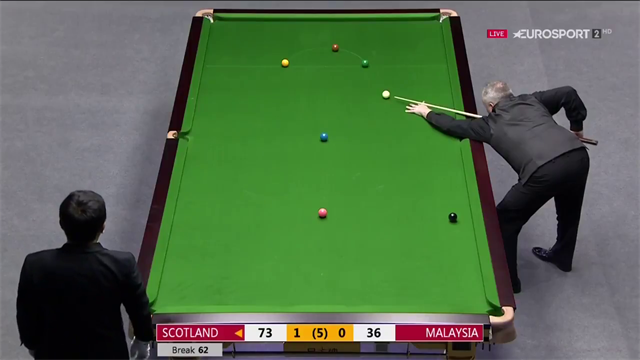 John Higgins clears up against Malaysia
