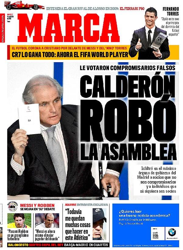 La Une de Marca du 13 janvier 2009, mettant en cause Ramón Calderón