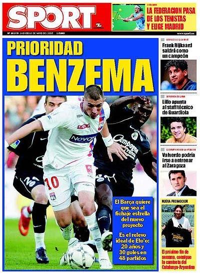 """""""Prioridad Benzema"""", la Une de Sport le 10 mai 2008"""