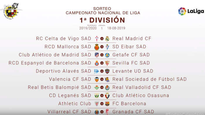 Liga Bbva Calendario Y Resultados.Liga Santander 2019 2020 Calendario Horarios Y Resultados