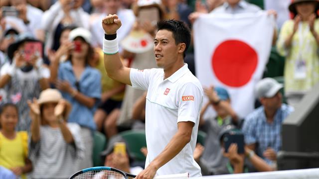 Men's round-up: Nishikori racks up milestones at Wimbledon