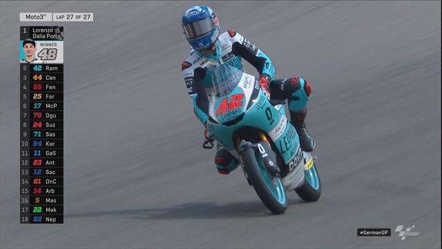 Geweldige opmars Canet - zege Dalla Porta in Moto3 race Duitsland
