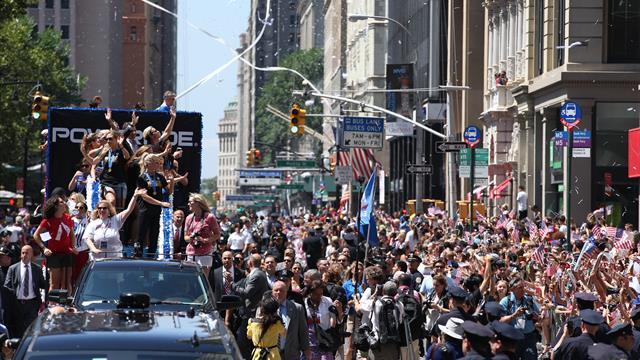Pour la deuxième fois, les championnes du monde ont paradé dans New York