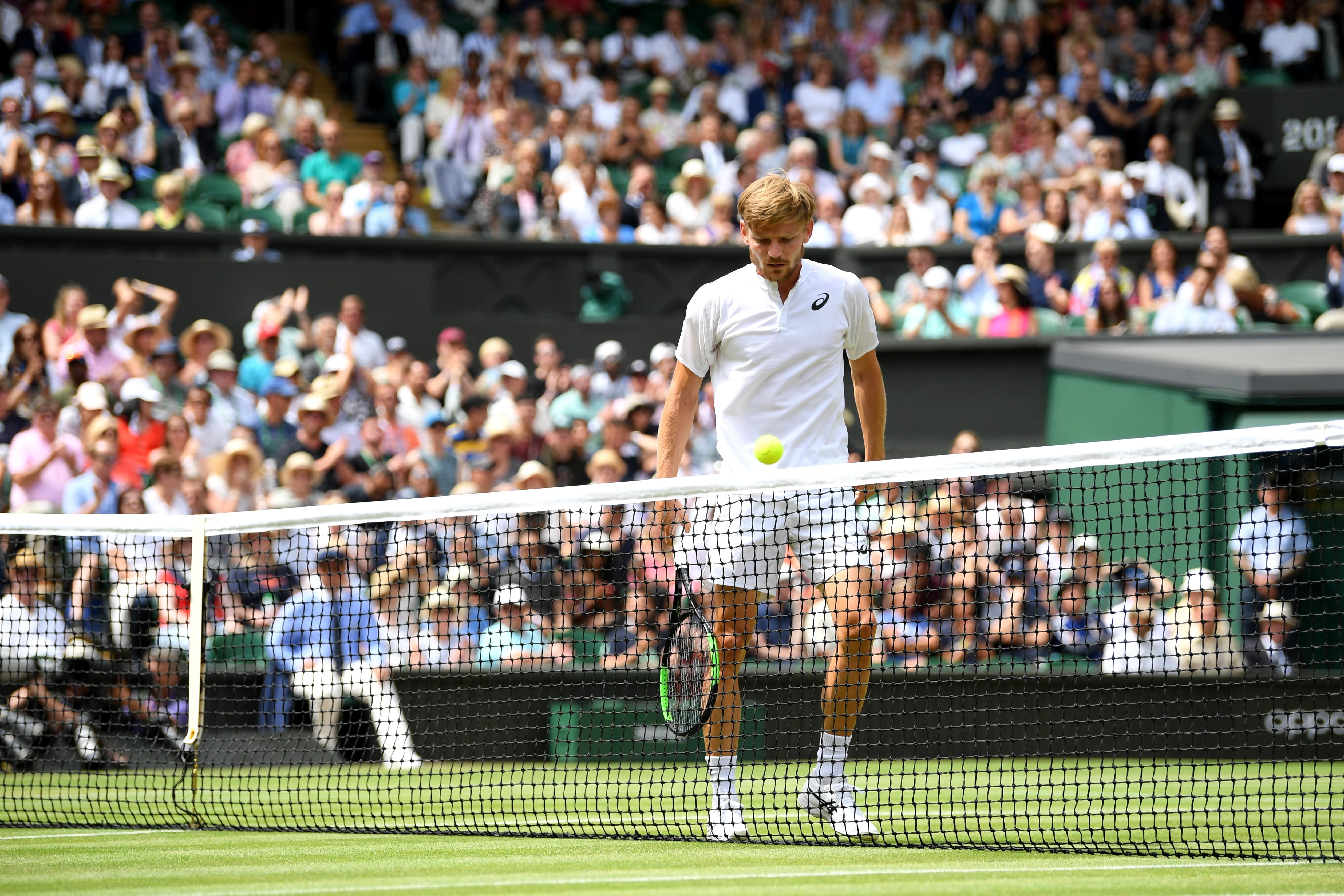 David Goffin lors de son quart de finale face à Novak Djokovic / Wimbledon 2019